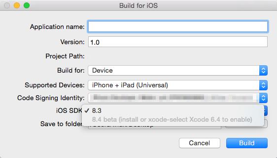 Corona Simulator Device Build Dialog Xcode 6.3